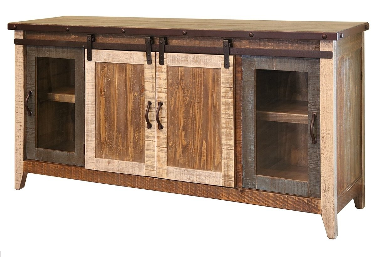 "Burleson Home Furnishings Anton Distressed White Sliding Barn Door Farmhouse 60 Inch Tv Stand with Brown Wood Top and Hand Forged Custom Handles. Fully Assembled Shabby Chic Console (Multi Color, 70) - Sturdy Solid Wood Construction With Multi Step Lacquer Finish 70"" Inches Wide x 19 Inches Deep x 34-3/4 Inches Tall Sliding Barn Door Opens to Reveal Shelving For Media Component Storage. Complete With Holes In Back For Wires - tv-stands, living-room-furniture, living-room - 71 sP4F0MeL -"