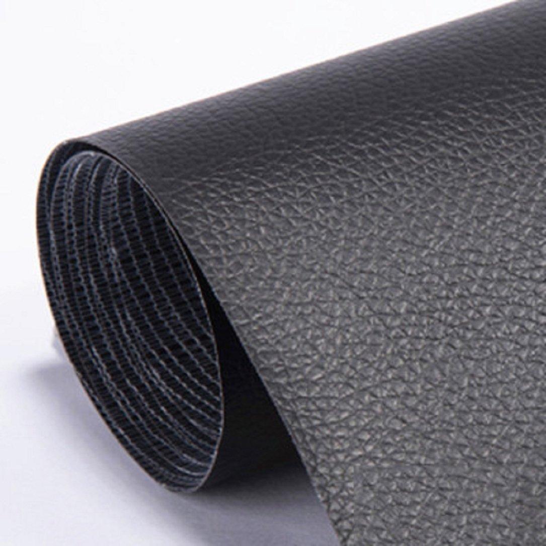 YABINA 137 x 100 cm Self Stick No Ironing Sofa Repairing Leather PU Fabric Patches Scrapbook Badges (Black)