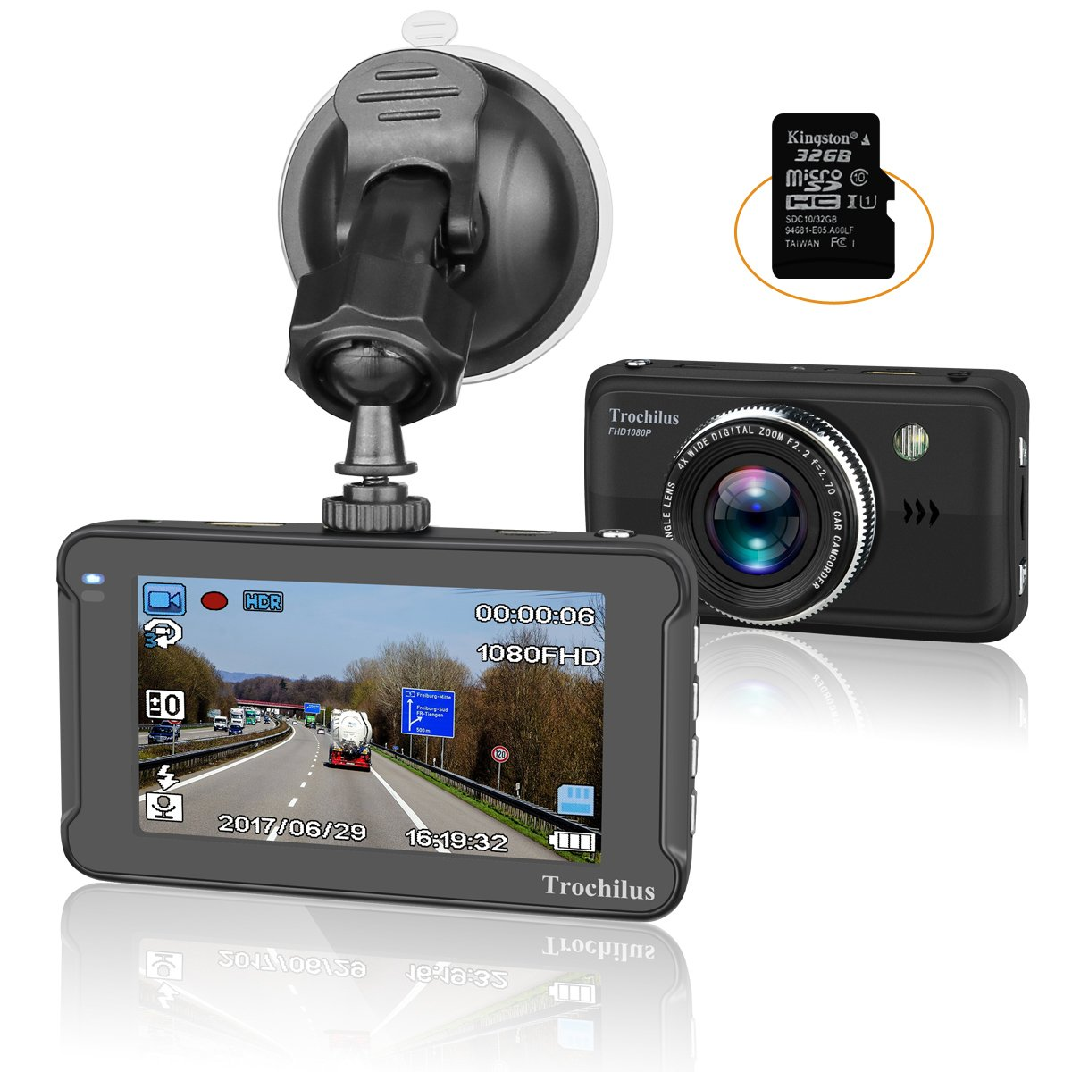 Trochilus Dash Cam 3''LCD HD 1080P Car Recorder 170 Wide Angle Night Vison Dashboard Camera with G-Sensor, Loop Recording, WDR, Parking Guard
