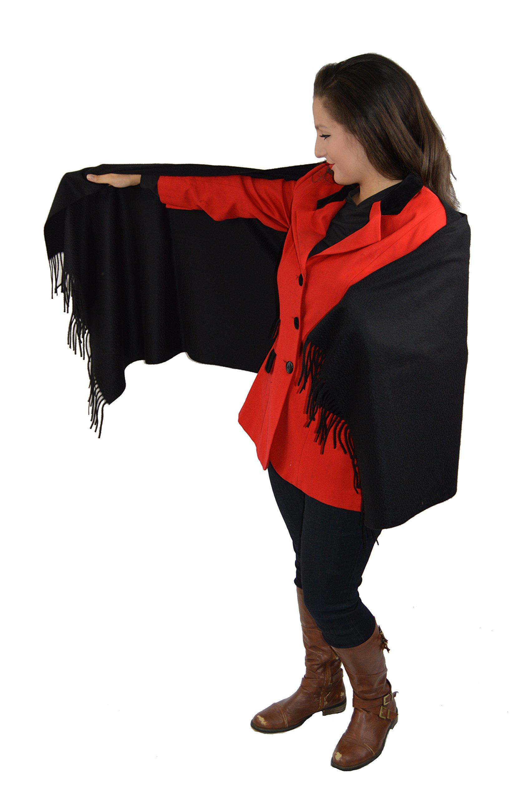 Cashmere Pashmina Group-Cashmere Shawl Scarf Wrap Stole (Solid/ Reversible Print w/ Genuine Fur) - Solid Ebony Black