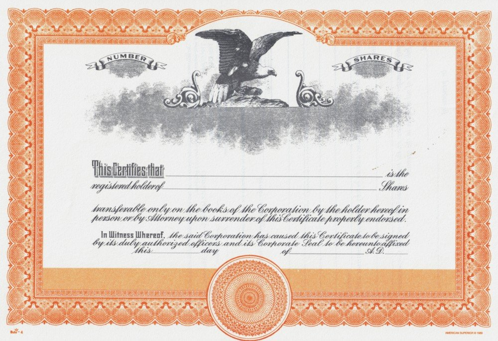 Duke 4 Stock Certificates (Pack of 25) American Superior