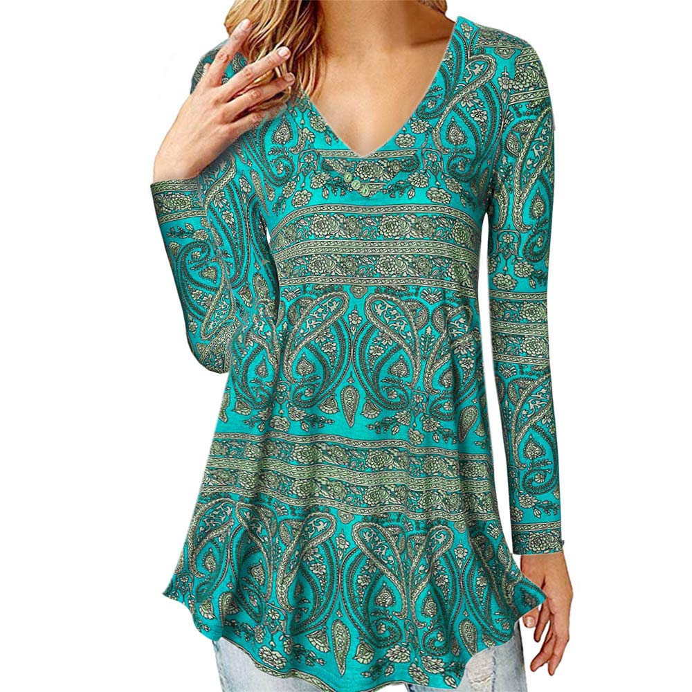 Womens Tops and Blouses Vintage Paisley Print V Neck Long Sleeve Shirts Tunic Causal Ladies Top