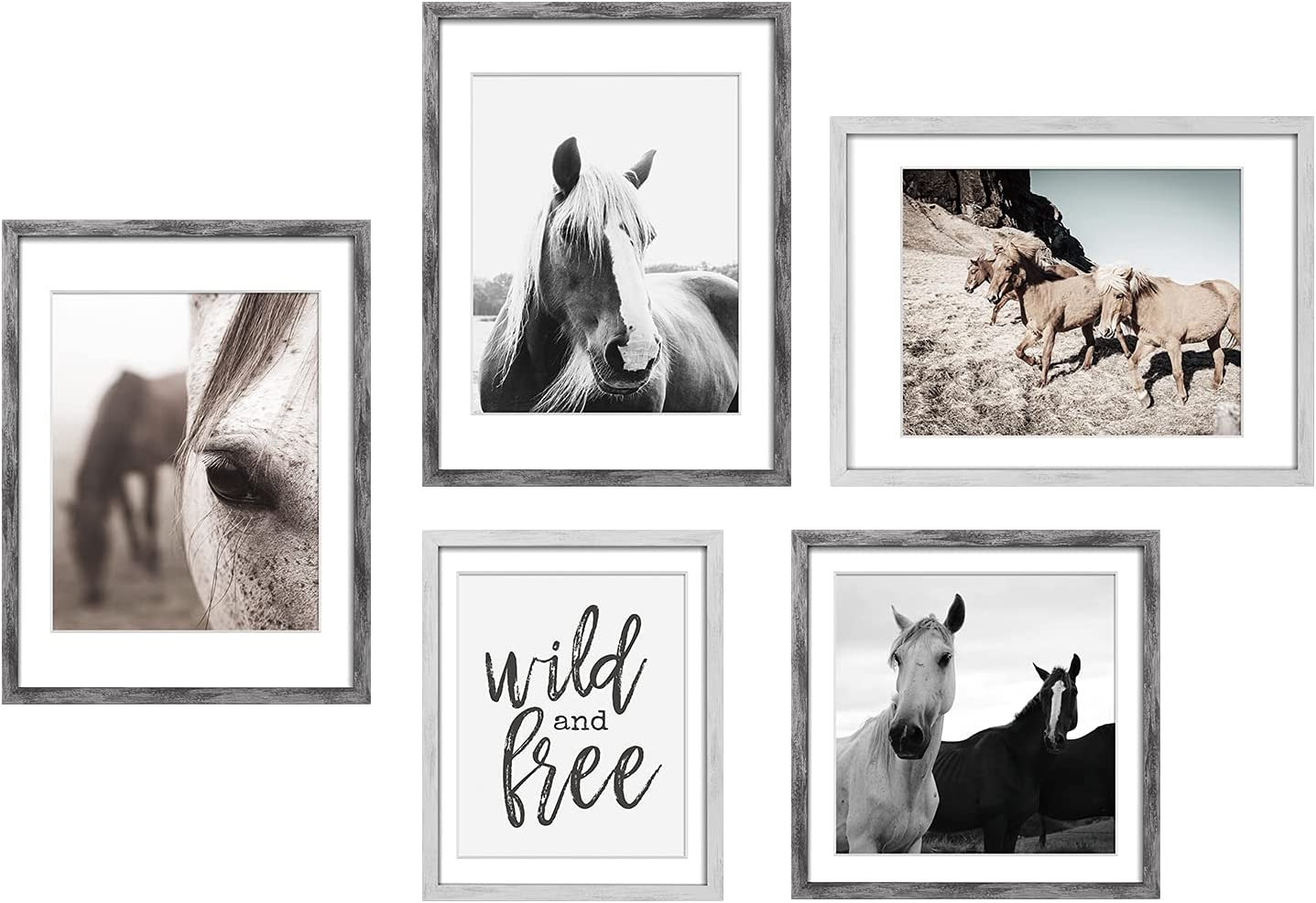 ArtbyHannah 5 Pack Framed Rustic Farmhouse Horse Wall Art Decor Picture Frame Set with Animal Art Prints Photo Frame Artwork for Gallery Wall Kit for Bedroom Living Room Bathroom Decoration