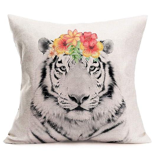 Joocar - Funda de cojín con diseño de elefante y flores ...