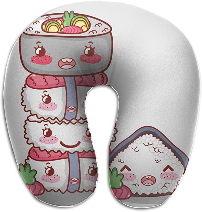 SALLYLOU Memory Foam Travel Pillow,Food Cute Kawaii Cartoon Support with Pillowcase Protector for Sleeping,Airplanes,Train and Camping