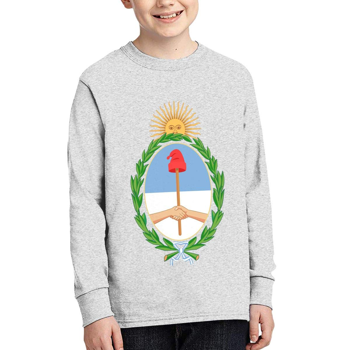 X-JUSEN Teenagers Coat of Arms of Argentina National Emblem Long Sleeve Cotton T-Shirts Blouse Tee Top