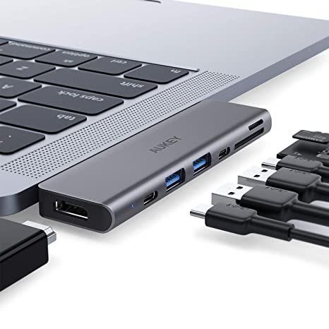 AUKEY USB C Hub Adapter for MacBook Pro with 4K HDMI, Thunderbolt 3, 2 USB  3 0, USB-C Data Port, SD and MicroSD Card Reader Type C Hub Compatible with