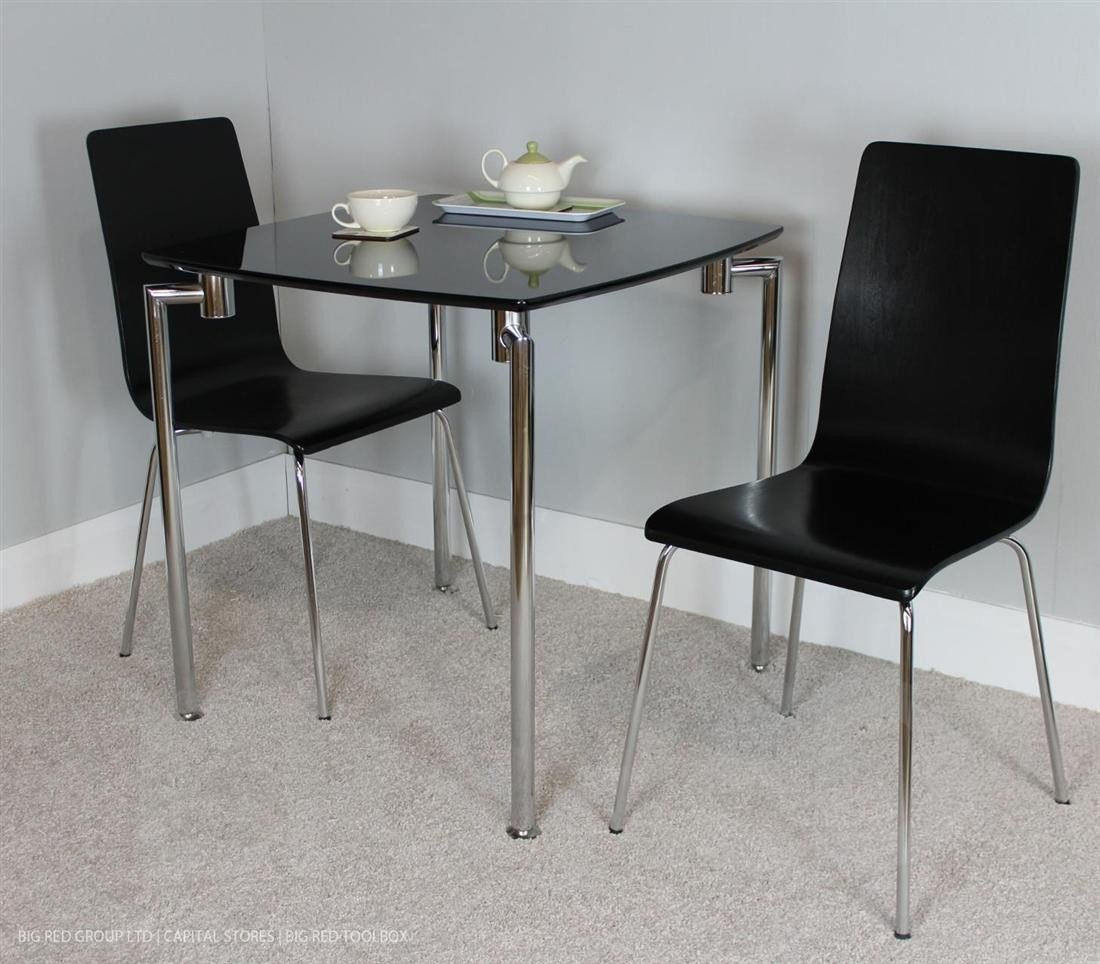 Fiji small dining set table 2 chairs black high gloss chrome amazon co uk kitchen home