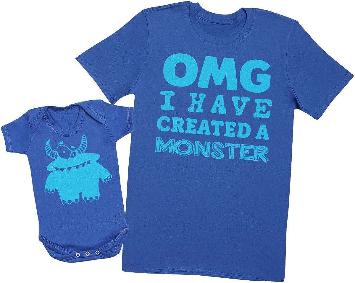 OMG I've Created a Azul Monster! - regalo para padres y bebés en un cuerpo para bebés y una camiseta de hombre a juego