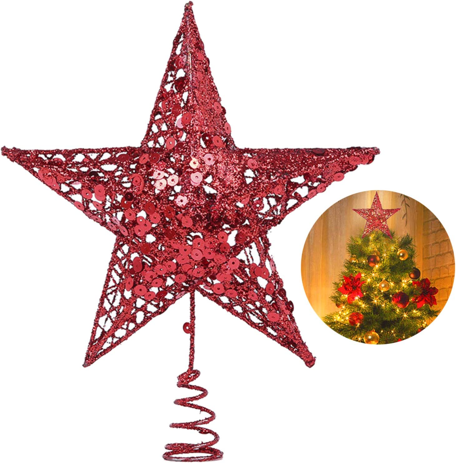 Christmas Tree Star Topper 10 Inch Xmas Tree Topper Star Christmas Decoration Glittered Tree Top Star For Christmas Tree Ornament Indoor Party Home Decoration Home Kitchen