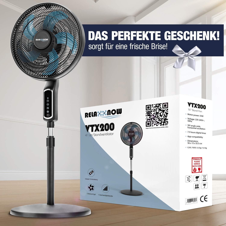 2 in 1 staande ventilator, 55 W, extreem stil, 43 dB, LED