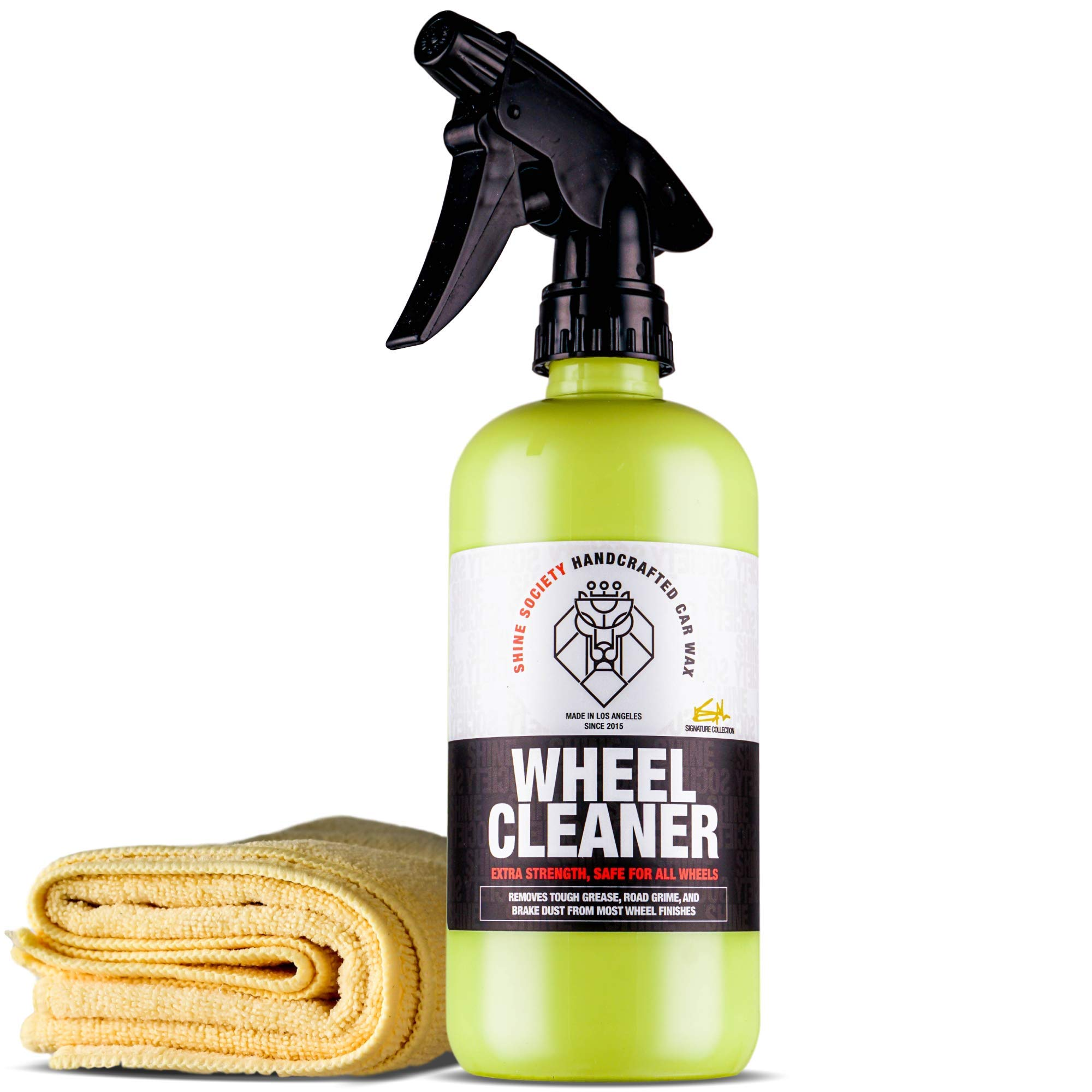 Shine Society Wheel Cleaner, Heavy Duty Strength for Removing Tough Brake Dust and Road Grime from Chrome, Alloy, and Painted Wheels with Microfiber Towel Included (18oz with Towel)