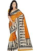 E-VASTRAM Women's Art Mysore Printed Silk Saree (NS7A_Yellow)