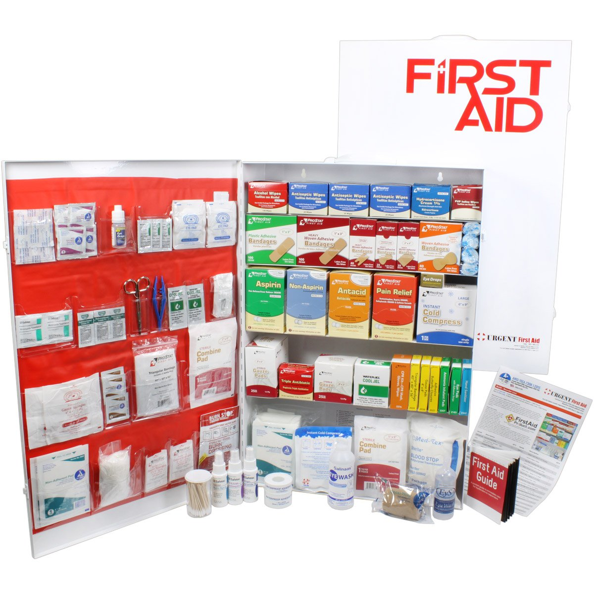 OSHA & ANSI 5 Shelf Industrial First Aid Cabinet with Pocket Liner, 200 Person, 1890 Pieces, 2015 Class A+, Types I & II, Made in USA by Urgent First Aid