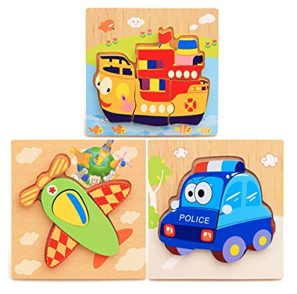 Hillento Wooden Puzzles for Toddlers Girls Boys Babies Educational Puzzle Toys Set, Colorful Solid Wood Pieces. Educational & Sensory Learning for Toddlers, Set of 3 (Fighter, Police Car, Cruises)