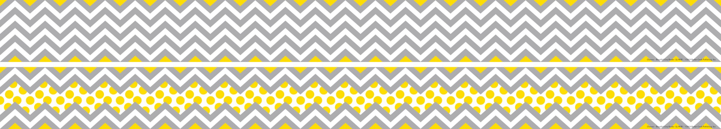 Barker Creek - Office Products Double-Sided Bulletin Board Border, Chevron Gray & Yellow, 35' (LL-985)