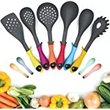 BOQUN 6 Pieces Kitchen Utensils Set, Non-Stick Heat Resistant Cooking Gadgets Cookware Tools Set Includes Ladle, Spoon Sieve, Soup Spoon, Rice Spoon, Skimmer, Pasta Spoon with 4 Small Wheat Straw Spoons