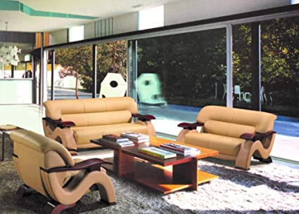 Amazon.com: My Aashis Luxury Piacenza Italian Leather Sofa Set ...