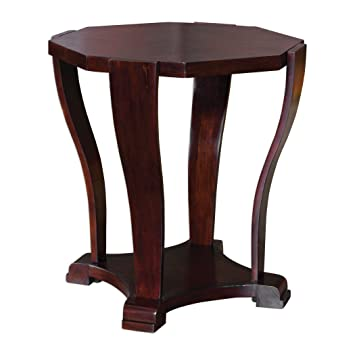 Marvelous Elegant Curved Wood Octagon Side Table | Round Accent Pedestal Square