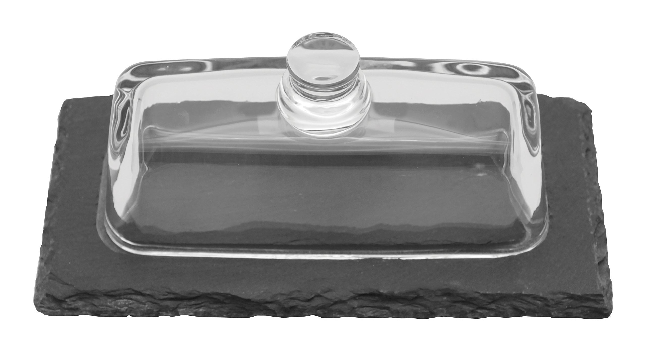 Paderno World Cuisine Natural Slate Butter Server with Glass Cover