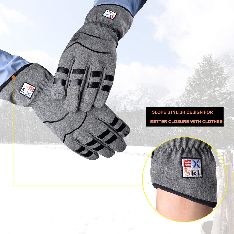 EXski Gants Hiver Chaud Tactile Gants Running Velo Randonn/ée Imperm/éable Thermiques Homme Femme