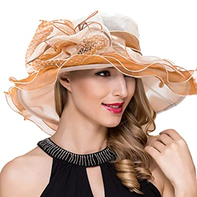 55672add42df0 Women Kentucky Derby Church Dress Fascinator Wide Brim Tea Party Wedding  Organza Hats S042b (Apricot