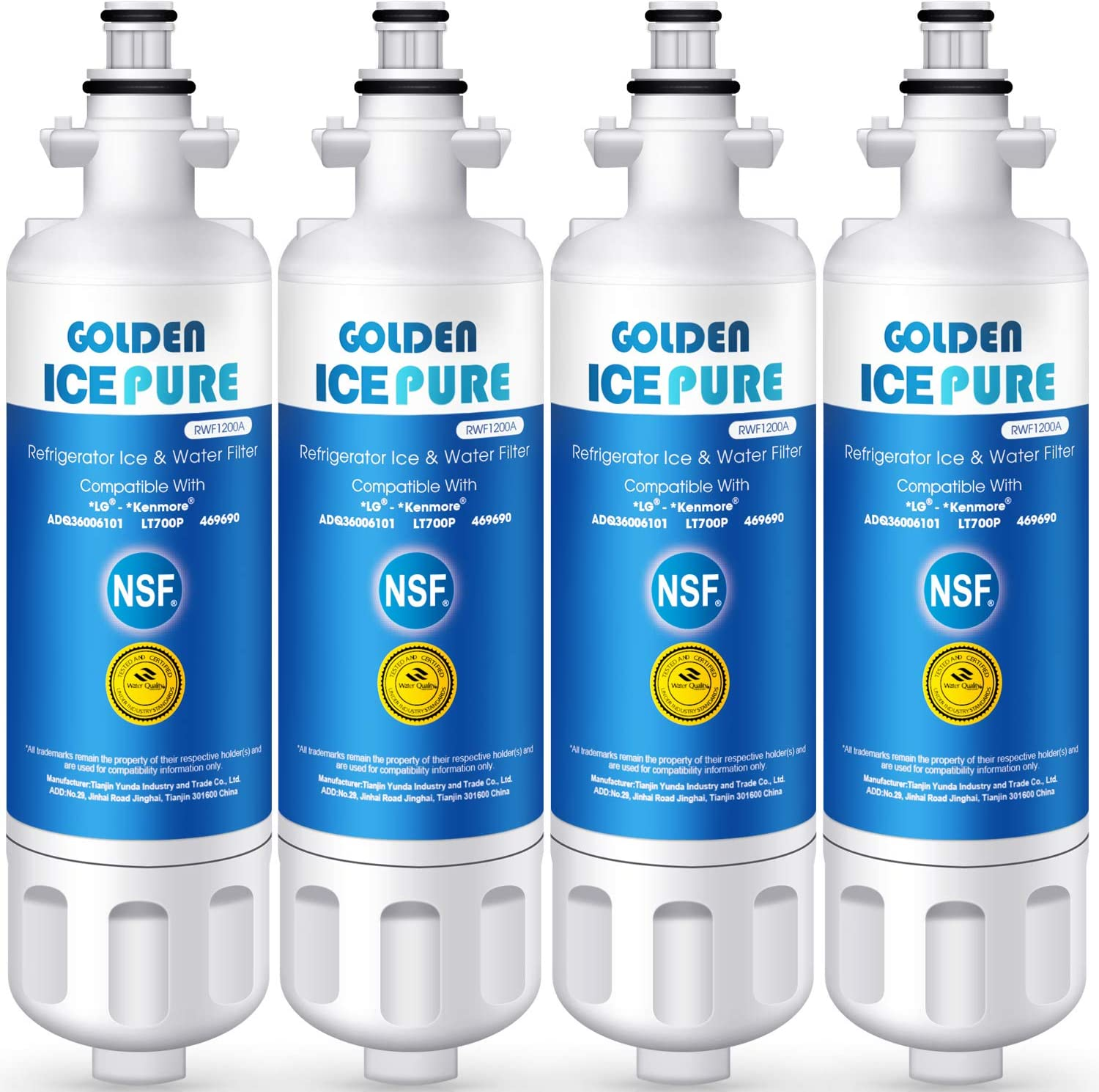 GOLDEN ICEPURE ADQ36006101 Refrigerator Water Filter Replacement for LG LT700P, ADQ36006101, Kenmore 469690, 9690, ADQ36006102, Advanced, Pack of 4