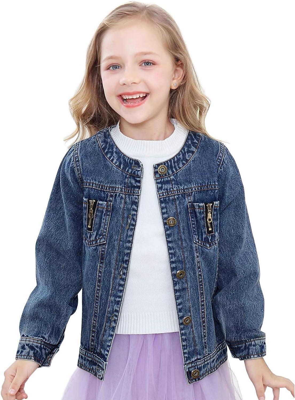 Girls Lace Denim Jean Jacket Kids Toddler Button Cowboy Coat Top Outwear Overcoat