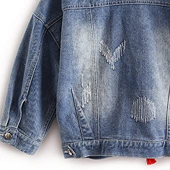 Amazon.com: Colorful Butterfly Embroidery Ladies Jean Jackets Patch Designs Womens Denim Coats with Tassel Short Slim Jacket: Clothing