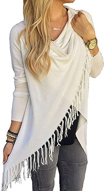 Mujer Camisas Primavera Otoño Elegantes Camisa Larga Borlas Color Sólido Pullover Casuales Moda Blusa Poncho: Amazon.es: Ropa y accesorios