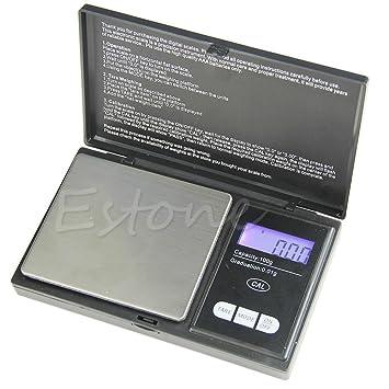 Báscula de joyería, 100 g x 0,01 g LCD Digital de bolsillo, joyería de oro Gram Balanza de Peso: Amazon.es: Hogar