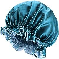 F Fityle Elastic Women Satin Night Sleep Cap Hair Bonnet Hat Shower Caps for Curly hair, Double Layer - Blue