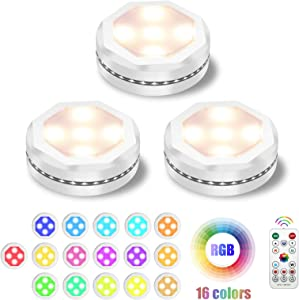 Under Cabinet Lighting, UYICOO 16 Colors RGB Wireless LED Puck Lights Color Changing Night Light for Home Kitchen Closet (3pcs) (White)