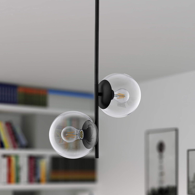 Caserti Mid Century Modern 2 Light Pendant Lighting Black with Clear Glass Globes Hanging Chandelier Light Fixture LL-P619-5BLK
