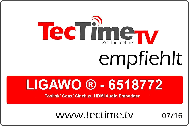 Ligawo 6518772 HDMI Audio Embedder convertidor de Audio Negro Conversor de Audio 5 V, 110 mm, 20 mm, 55 mm, 150 g