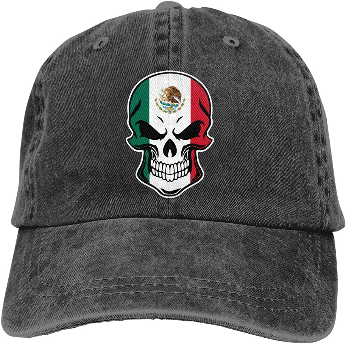 Mexico Flag Skull-1 Adult Custom Denim Outdoor Sports Hat Adjustable Baseball Cap