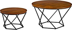 Walker Edison Furniture Company Modern Round Nesting Coffee Accent Table Living Room, Walnut/Black