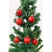 Yılbaşı Ağaç Süsü Kırmızı Simli Top Süs 6 lı