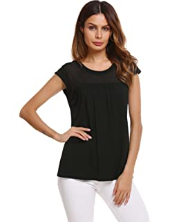 ebe21db1a9b2e4 Zeagoo Womens Casual Loose Round Neck Cap Sleeve Top Chiffon Stitching  Pleated Pullover Blouse