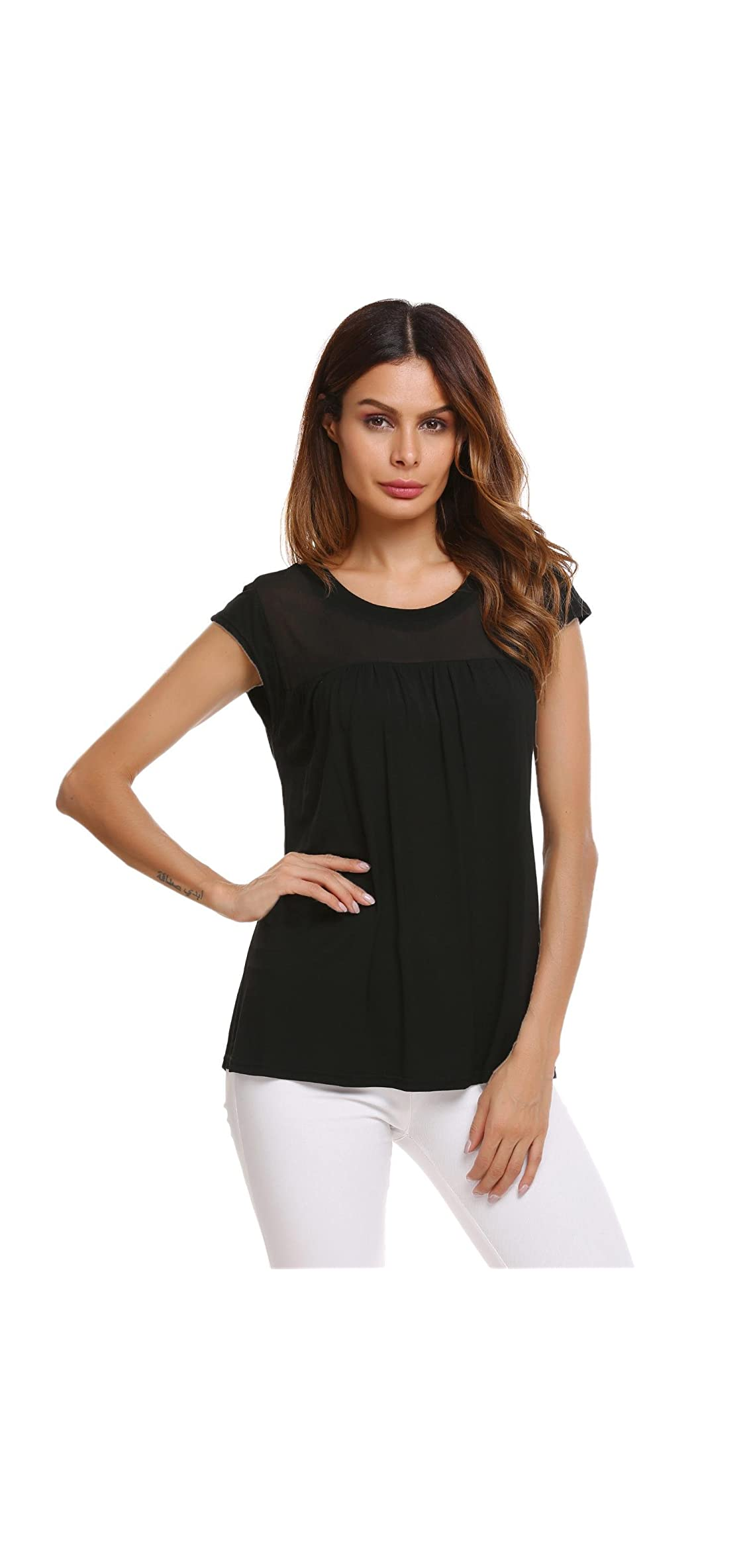 Womens Casual Loose Round Neck Cap Sleeve Top Chiffon