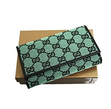 a6e479af148 Gucci Women s Trifold Canvas Leather Wallet 263114 - Green -  Amazon ...