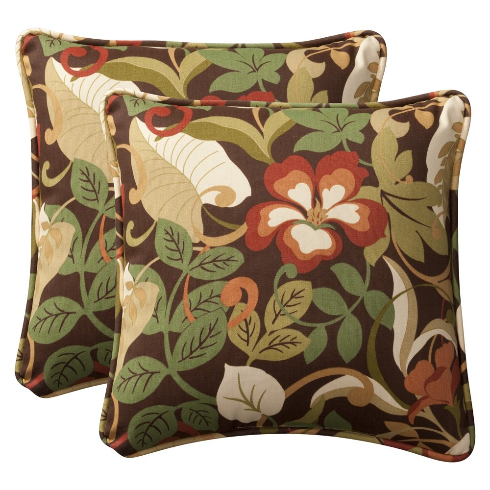 amazoncom pillow perfect decorative browngreen tropical toss  - amazoncom pillow perfect decorative browngreen tropical toss pillowssquare pack home  kitchen