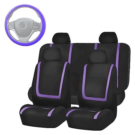 FH Group FB032114 Unique Flat Cloth Full Set Car Seat Covers Purple