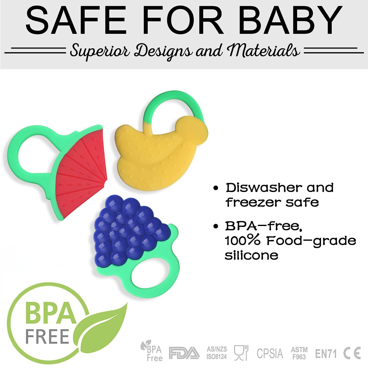 Zakitane Baby Fruit Teether Teething Toys Chewable Silicone Teethers with Rings Infant Toddler Teething Pain Relief BPA Free Set of 3 Watermelon Bananas and Grapes