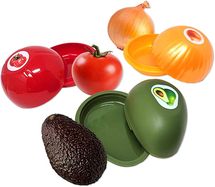 Food Storage Containers for Avocado, Tomato, & Onion | Food Saver Pod with Lid to Keep Foods Fresh (3 Pack)