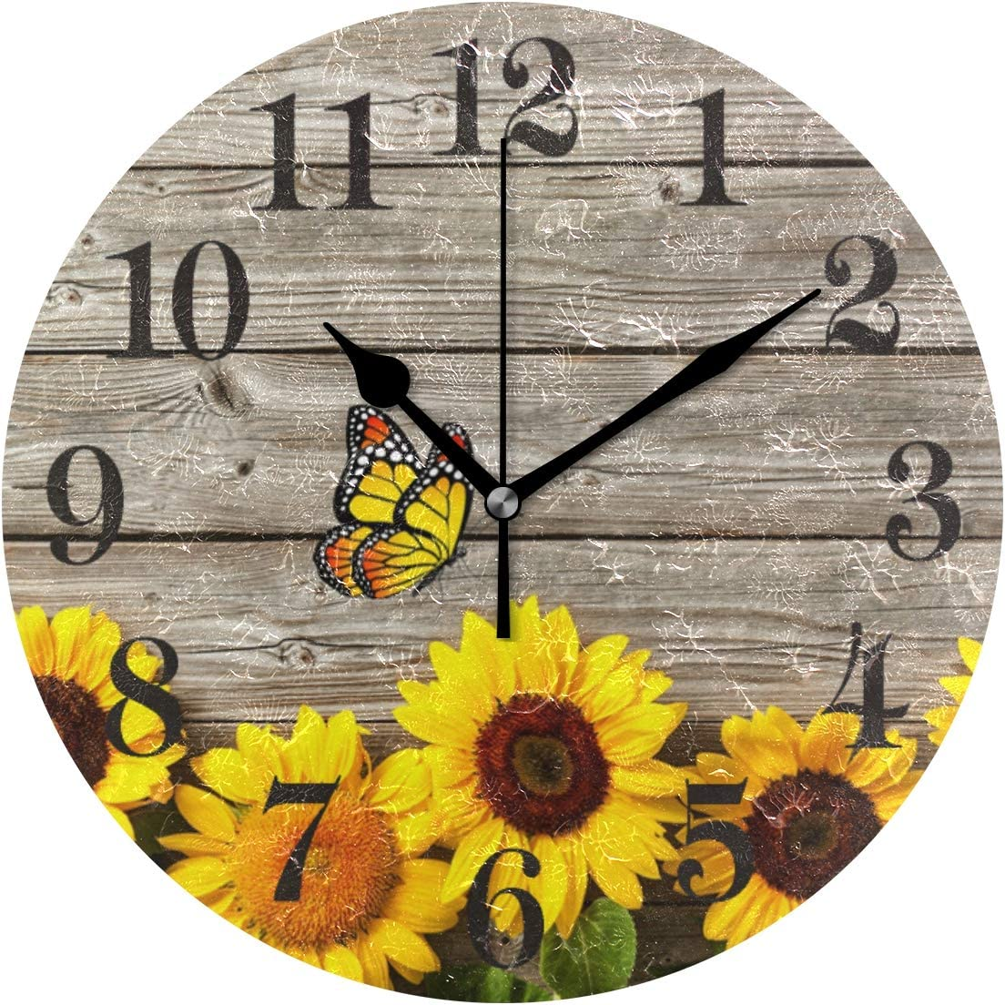 WIHVE Sunflowers Wooden Vintage Round Wall Clock, 10 Inch Battery Operated Desk Hanging Clock for Home Office School