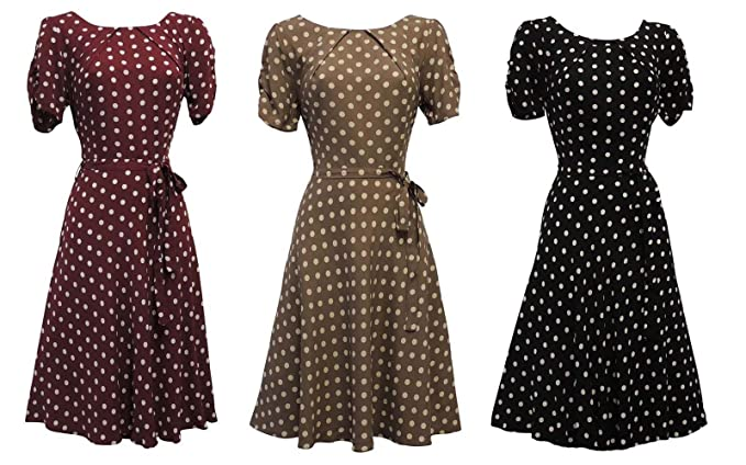 2a26b60119a0 Image Unavailable. Image not available for. Colour: Viva-la-Rosa New Ladies  Polka Dot WWII 1930's/40's VTG Style Wartime