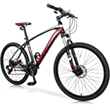 """Merax 26"""" Mountain Bicycle with Suspension Fork 24-Speed Mountain Bike with Disc Brake, Lightweight Aluminum Frame"""