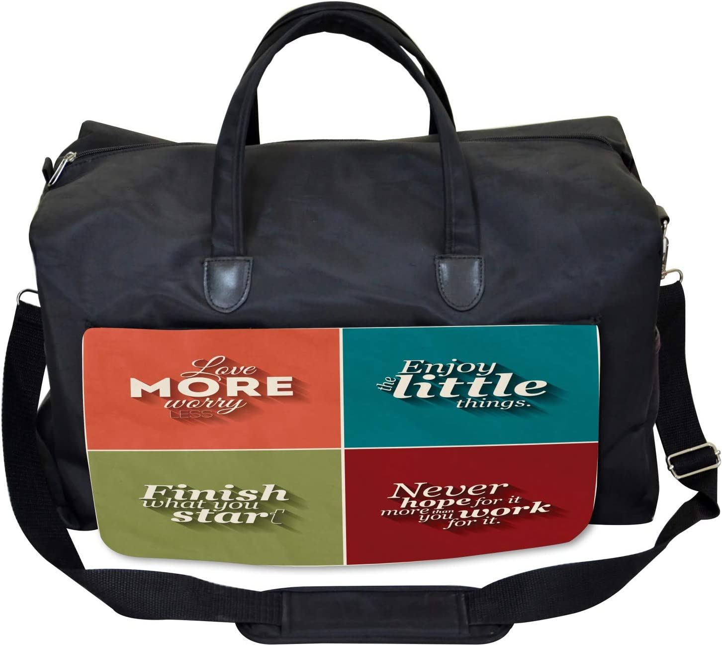 Ambesonne Quotes Gym Bag Love More Worry Less Large Weekender Carry-on