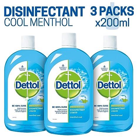 Dettol Multi-use Hygiene Liquid - 200 ml (Menthol Cool, Pack of 3)